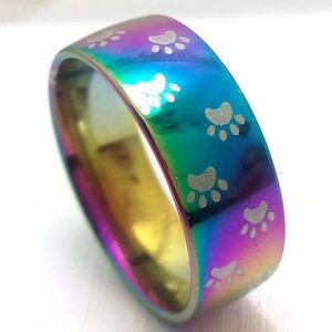 Jewelry - BOGO 75% OFF! Paw Print Rnbw Stainless Steel Ring